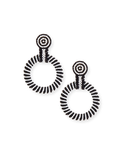 Gypsy Hoop Drop Earrings  Black/White