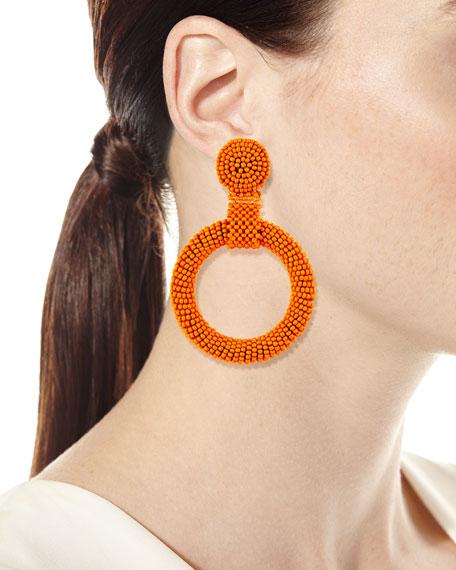 Kenneth Jay Lane Gypsy Hoop Drop Earrings, Coral