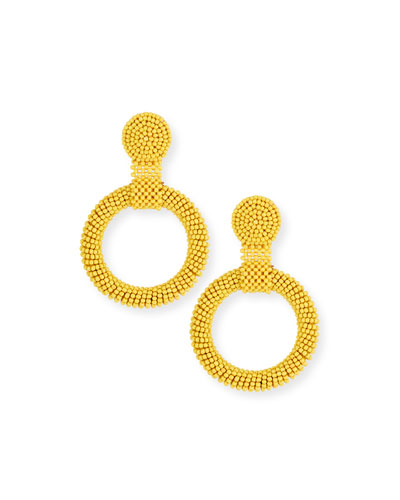 Gypsy Hoop Drop Earrings  Yellow