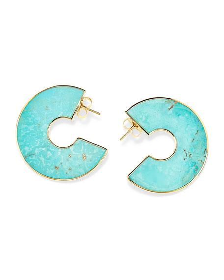 Ippolita 18K Polished Rock Candy Cutout Donut Slice Earrings, Turquoise
