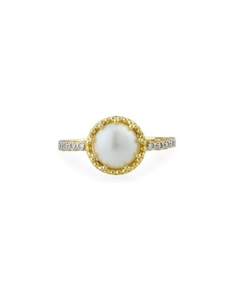 Jude Frances Provence 18k Pearl & Diamond Ring, Size 7