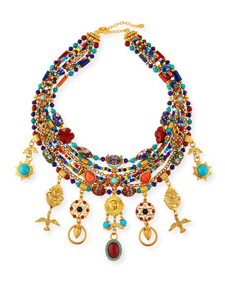 Jose & Maria Barrera Multi-Strand Charm Necklace