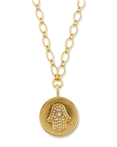 Hamsa Talisman Necklace w/ Crystals