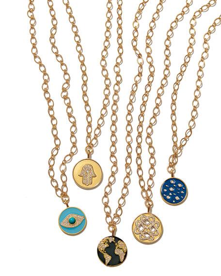 Sequin Globe Talisman Necklace w/ Crystals