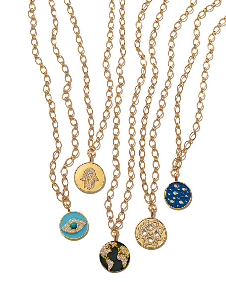 Sequin Hearts Talisman Necklace w/ Crystals