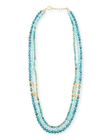 Dina Mackney Long 3-Strand Turquoise Necklace