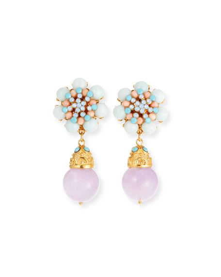 Jose & Maria Barrera Multi-Pastel Drop Clip-On Earrings