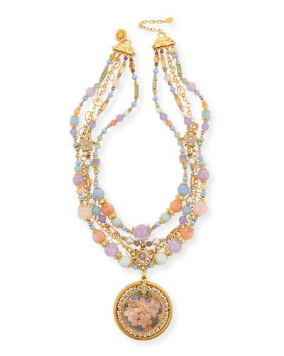 Semiprecious Decoupage Pendant Necklace  Pastel