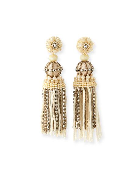Oscar de la Renta Silk & Chain Tassel Earrings