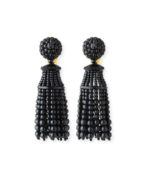 Oscar de la Renta Short Beaded Clip-On Drop Earrings