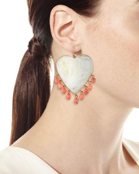 Ashley Pittman Landa Heart Earrings in Light Horn