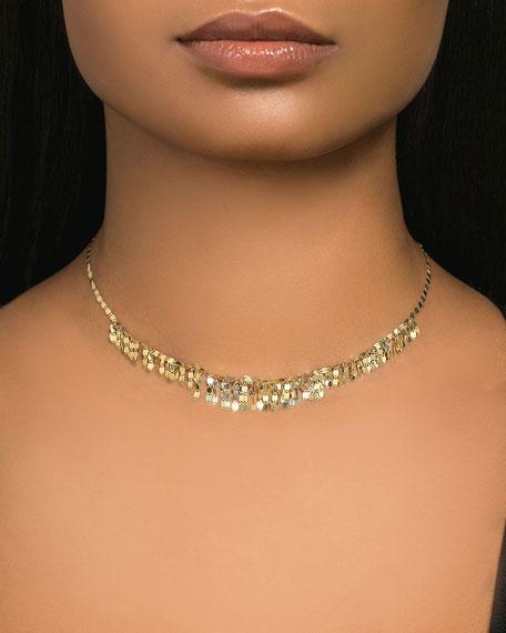 """14k Gold Mini Fringe Choker Necklace, 15""""L"""