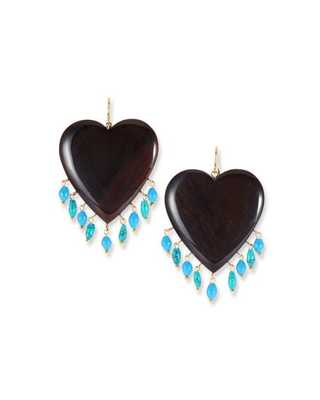 Ashley Pittman Landa Heart & Dangle Earrings, Dark/Turquoise