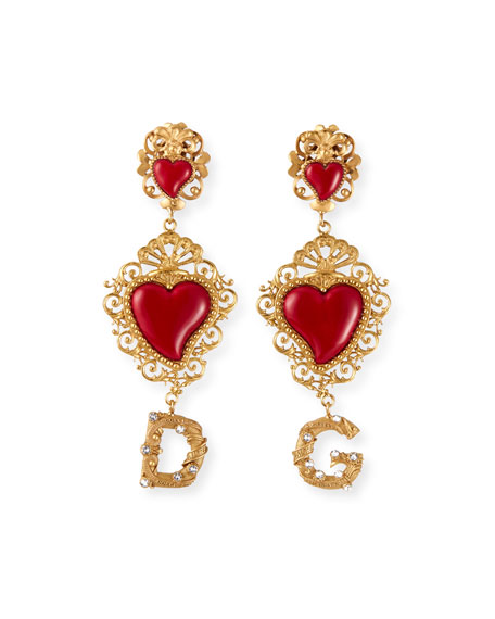 Dolce & Gabbana DG Double-Heart-Drop Earrings