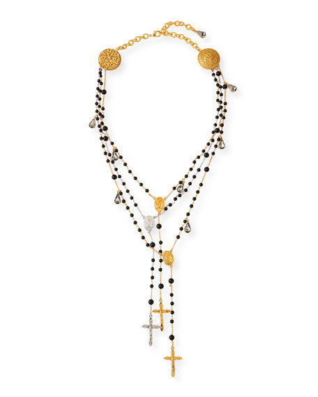 Dolce & Gabbana 3-Layer Beaded Cross Necklace