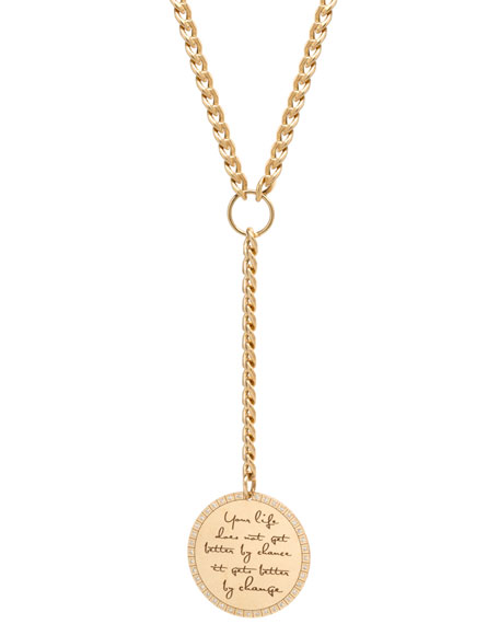 "Zoe Chicco 14k ""Life Does Not Get Better by Chance"" Mantra Pendant Necklace w/ Diamonds"