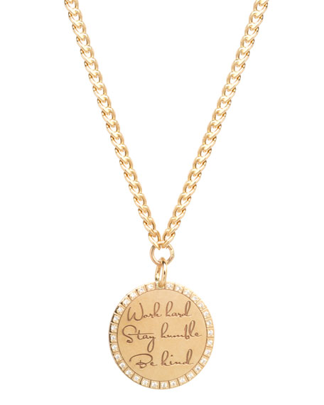 """Zoe Chicco 14k """"Work Hard, Stay Humble, Be Kind"""" Mantra Pendant Necklace w/ Diamonds"""