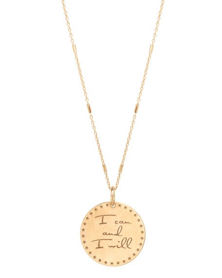 """Zoe Chicco 14k """"I Can and I Will"""" Mantra Pendant Necklace"""