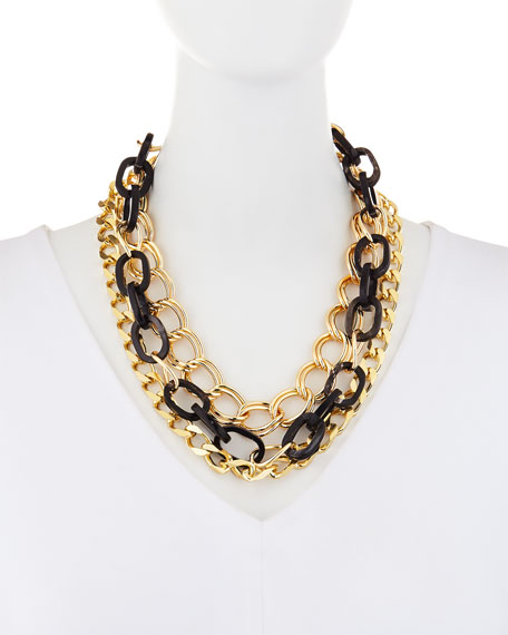 Image 2 of 2: Akola Triple-Strand Black Horn & Chain Necklace