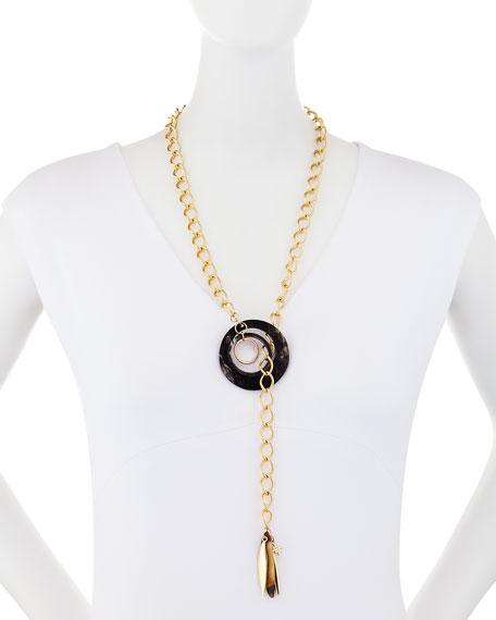 Akola Black Horn & Lariat Chain Necklace