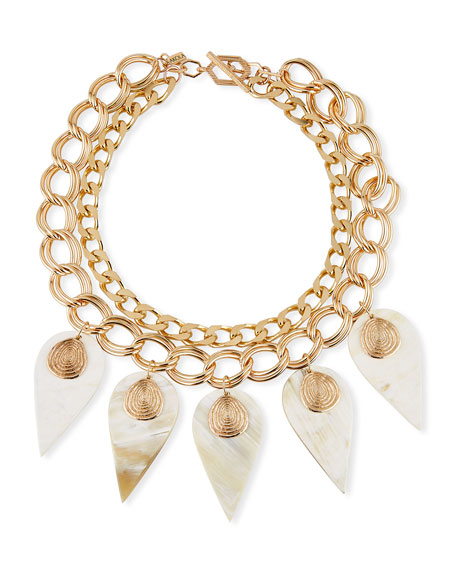 Akola White Horn & Chain Necklace