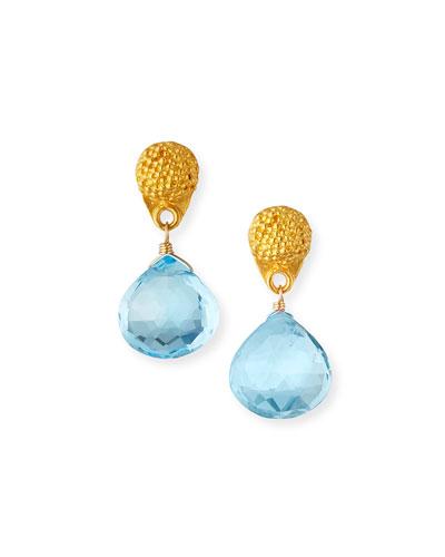 Mismatched Colorblock Petite Topaz Drop Earrings