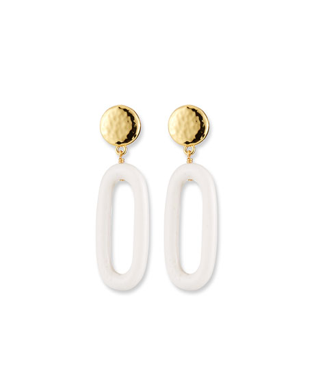Image 1 of 2: NEST Jewelry Bone Oval Drop Earrings