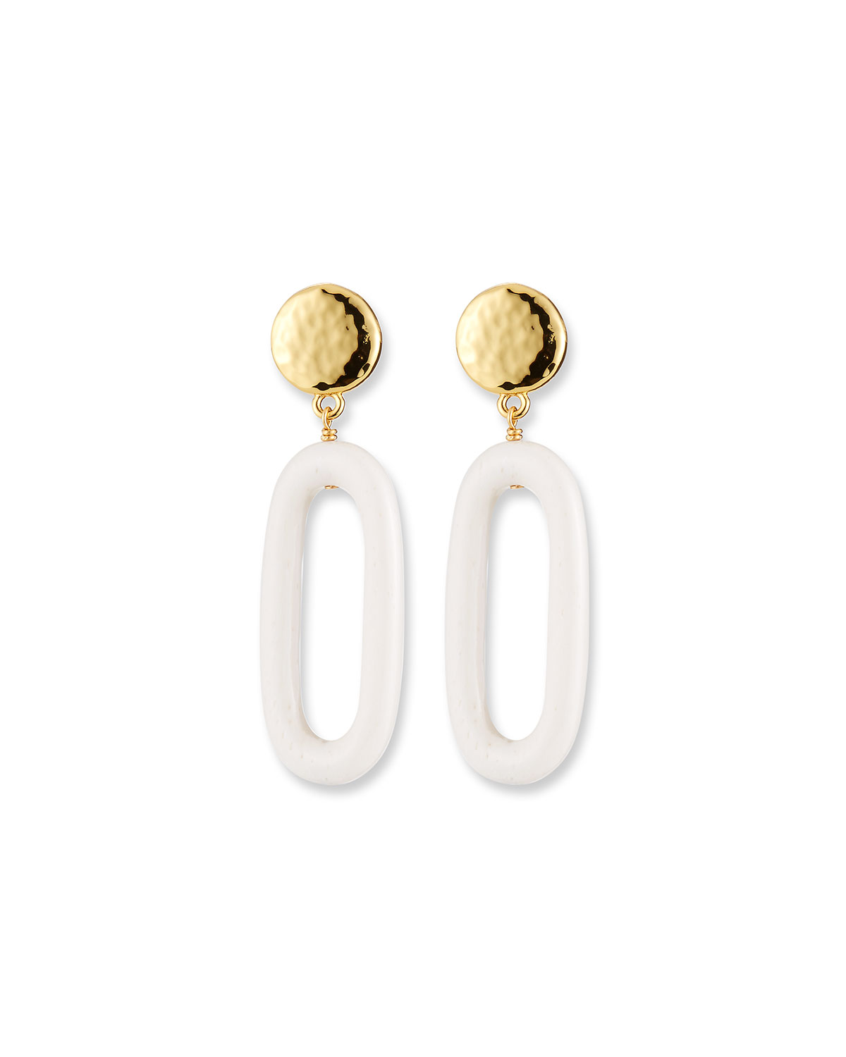 NEST Jewelry Bone Oval Drop Earrings