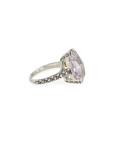 Stephen Dweck Flower-Engraved Medium Amethyst Ring, Size 7-9