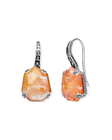 Stephen Dweck Galactical Doublet Drop Earrings in Pink Mother-of-Pearl