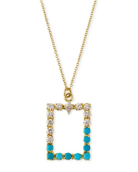 Armenta Old World Rectangular Pendant Necklace w/ Diamonds & Turquoise