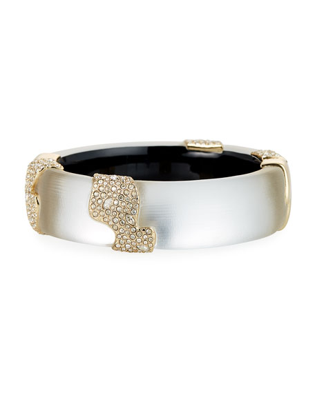Alexis Bittar Crystal Encrusted Sectioned Hinge Bracelet, Silver