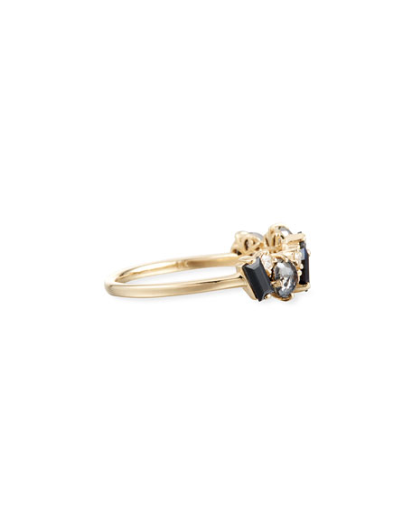KALAN by Suzanne Kalan Bloom 14k Yellow Gold Amalfi Mix Ring, Black, Size 4-8.5