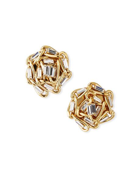 Rosantica Slim Crystal & Chain Clip-On Earrings