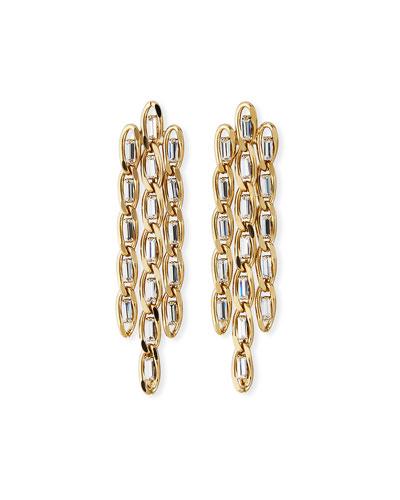 Slim Crystal & Chain Drop Earrings