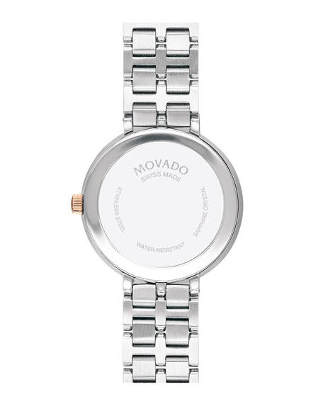 Movado Kora Mother-of-Pearl Bracelet Watch, Carnation/Steel