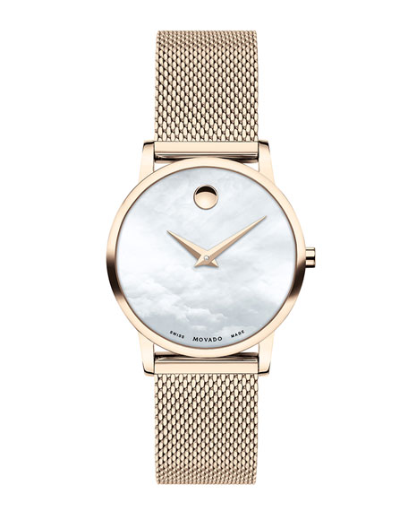 Movado 28mm Museum Classic Mesh Bracelet Watch, Carnation