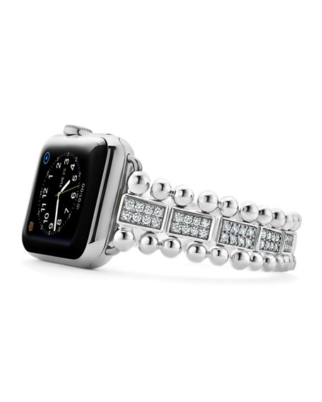 LAGOS Smart Caviar Bracelet Watch Strap w/ Diamond Pave, Medium