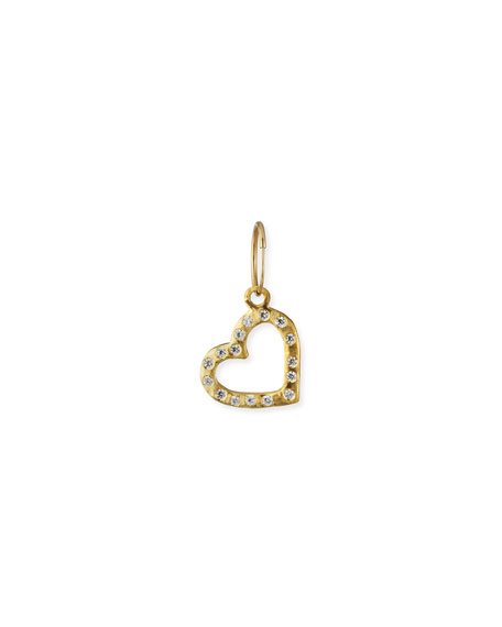 Lee Brevard 18K Compass Heart Earring w/ Cubic Zirconia, Single
