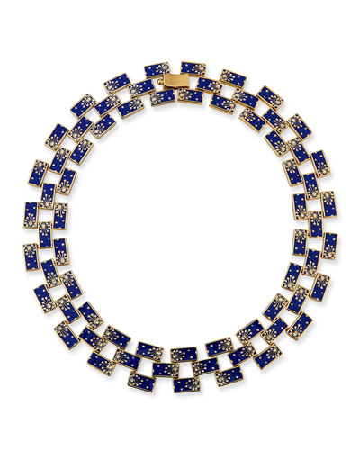 Lunette Enamel-Link Necklace