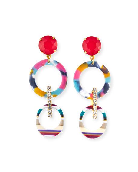 Elizabeth Cole Salvia Hoop-Drop Earrings