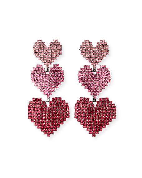 Elizabeth Cole Valentina Triple-Heart Drop Earrings