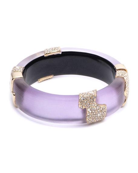 Alexis Bittar Crystal Encrusted Sectioned Hinge Bracelet, Purple