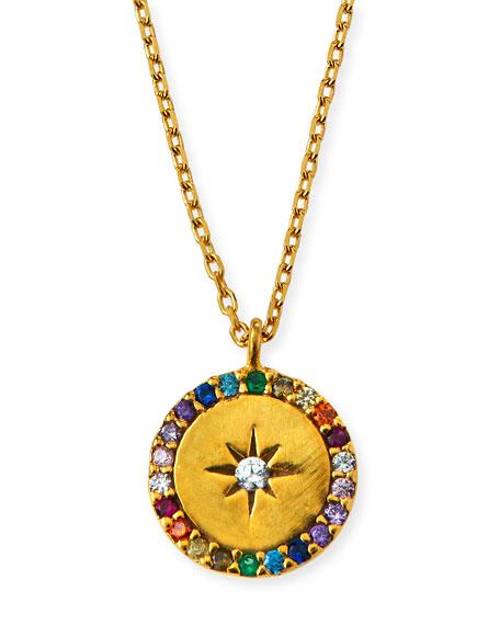 Tai Star & Crystal Round Pendant Necklace