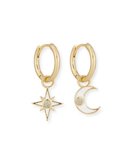 Tai Star & Moon Dangle Hoop Earrings