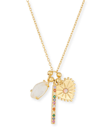 Tai Crystal Stick, Heart & Opal Charm Necklace