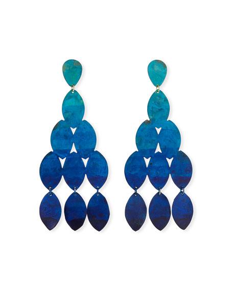 We Dream in Colour Kiketta Hammered Dangle Earrings, Ocean