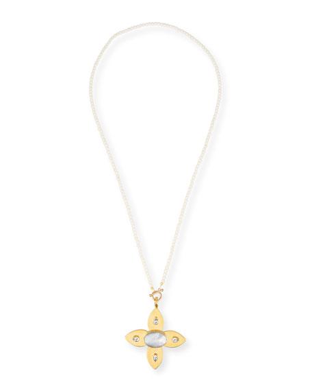 Dina Mackney Large Mother-of-Pearl & Topaz Flower Pendant Necklace
