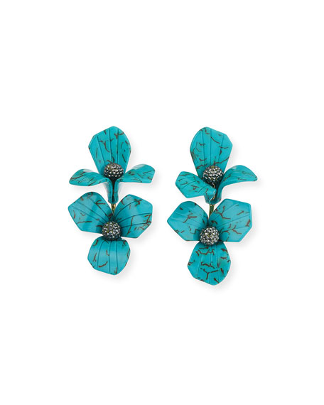 Lele Sadoughi Trillium Bouquet Drop Earrings, Turquoise