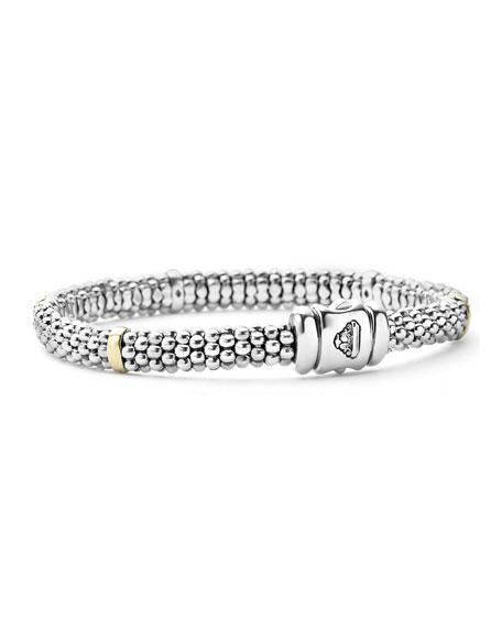 LAGOS Signature Silver Caviar Bracelet with 18k Gold, 6mm